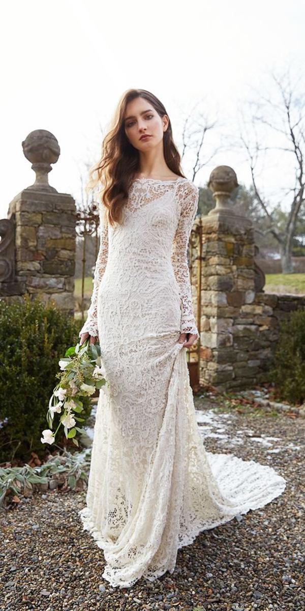 vintage wedding dresses with sleeves lace boho style jenny yoo