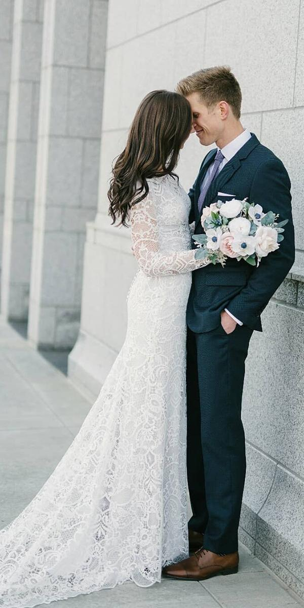 vintage wedding dresses with sleeves lace train natalie wynn design