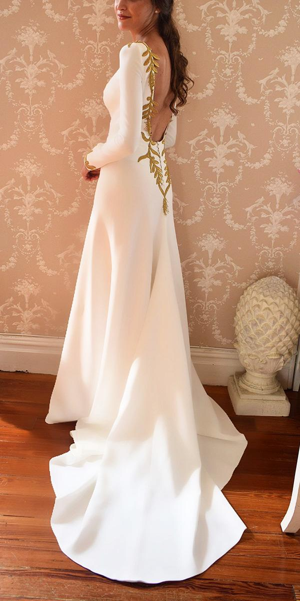 vintage wedding dresses with sleeves low back gold embellishment alicia rue daatelier