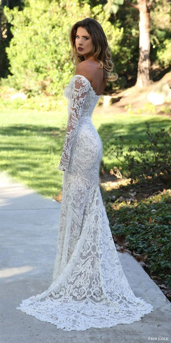 vintage wedding dresses with sleeves off the shoulder lace erin cole