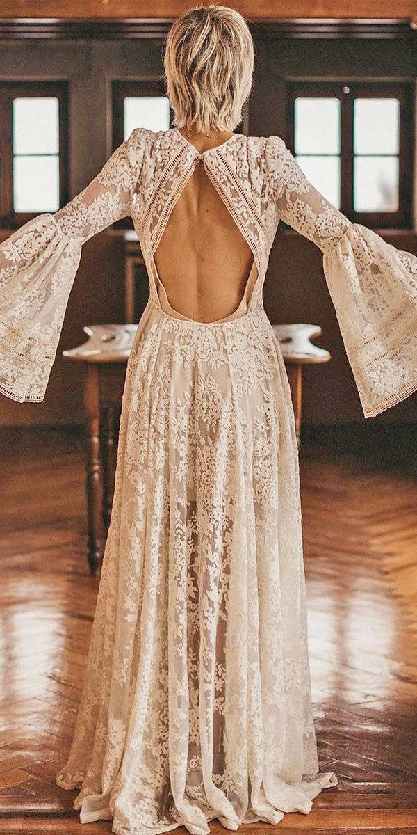 vintage wedding dresses with sleeves open back bohemian immacle