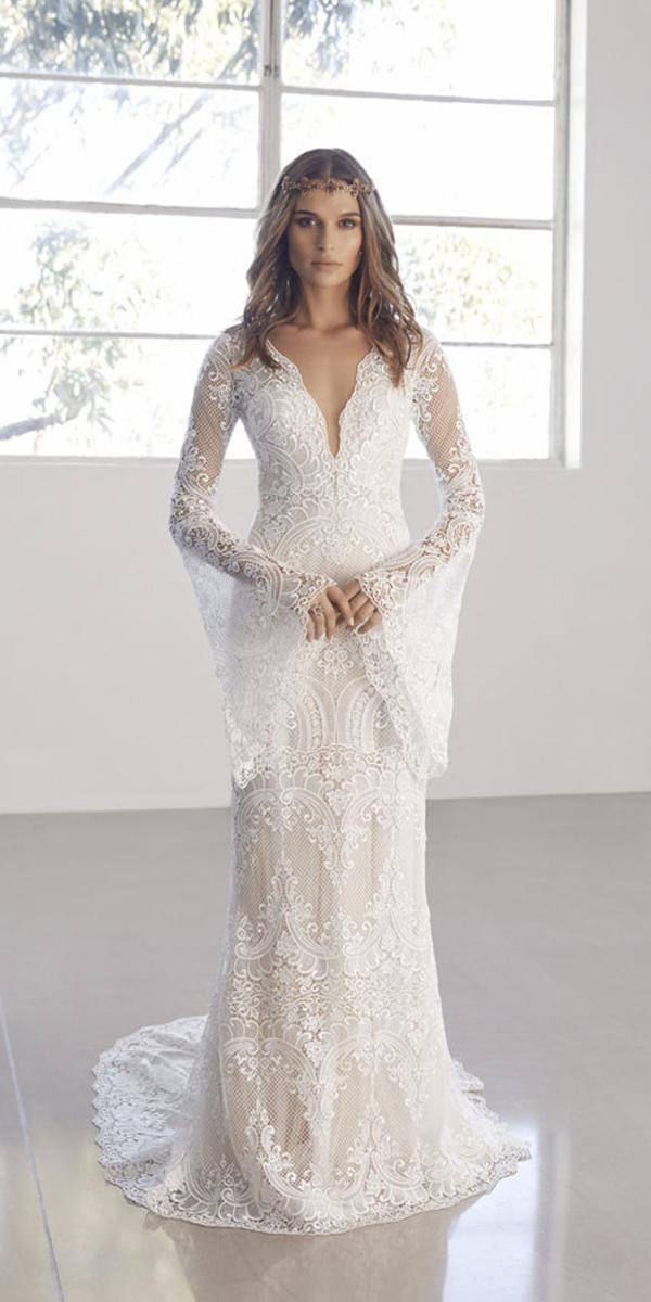 vintage wedding dresses with sleeves shaeth v neckline lace suzanne harward