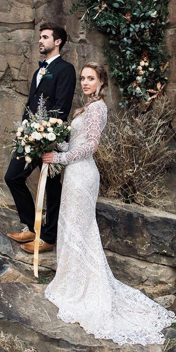 vintage wedding dresses with sleeves sheath country tara lauren
