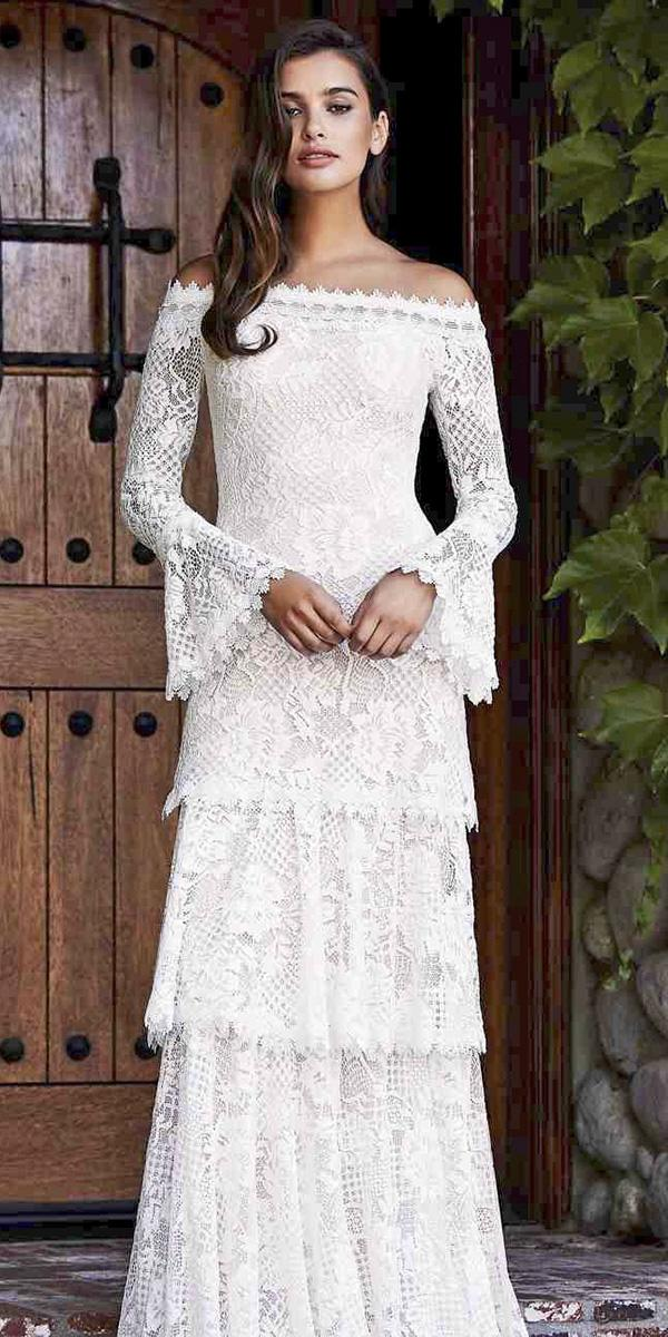 vintage wedding dresses with sleeves sheath full lace erin cole