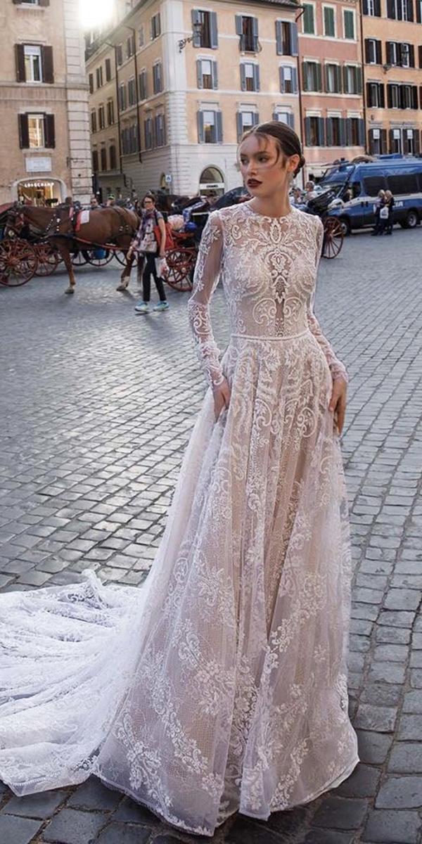 vintage wedding dresses with sleeves sheath full lace romantic birenzweig bridal