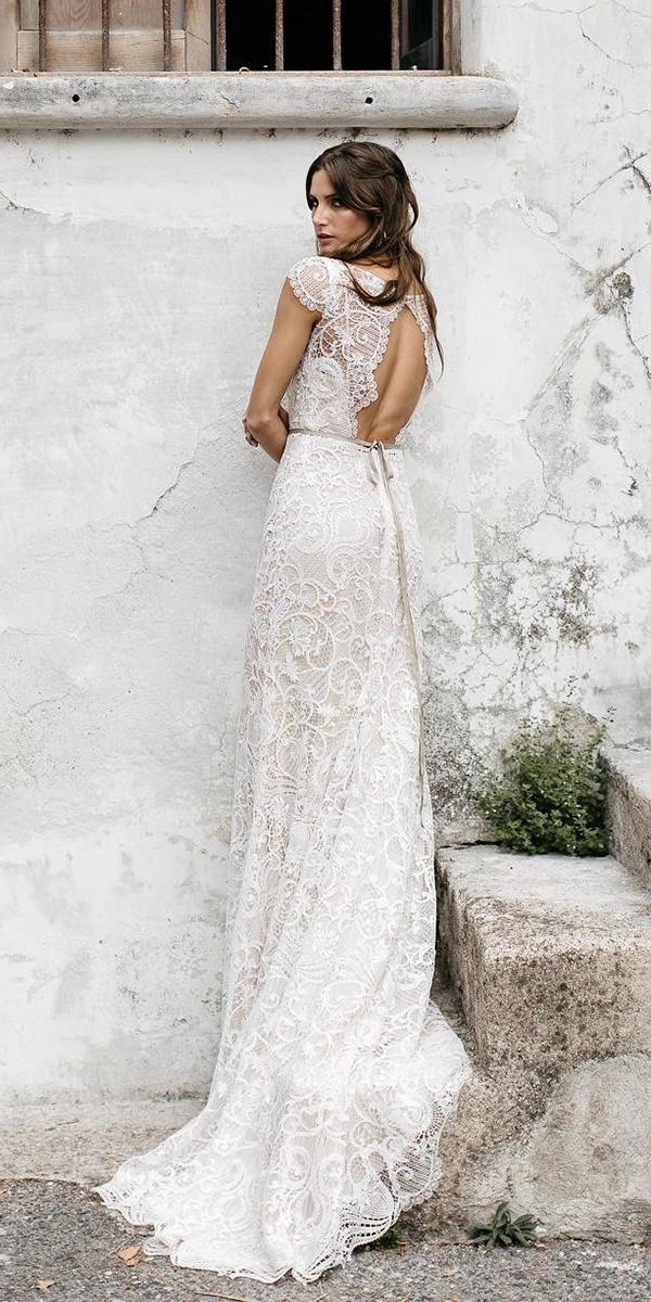 vintage wedding dresses with sleeves sheath open back lace country tara lauren