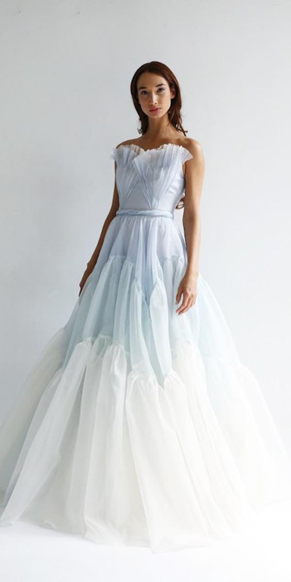 wedding dresses 2019 a line blue accents ruffled skirt trends leanne marshall
