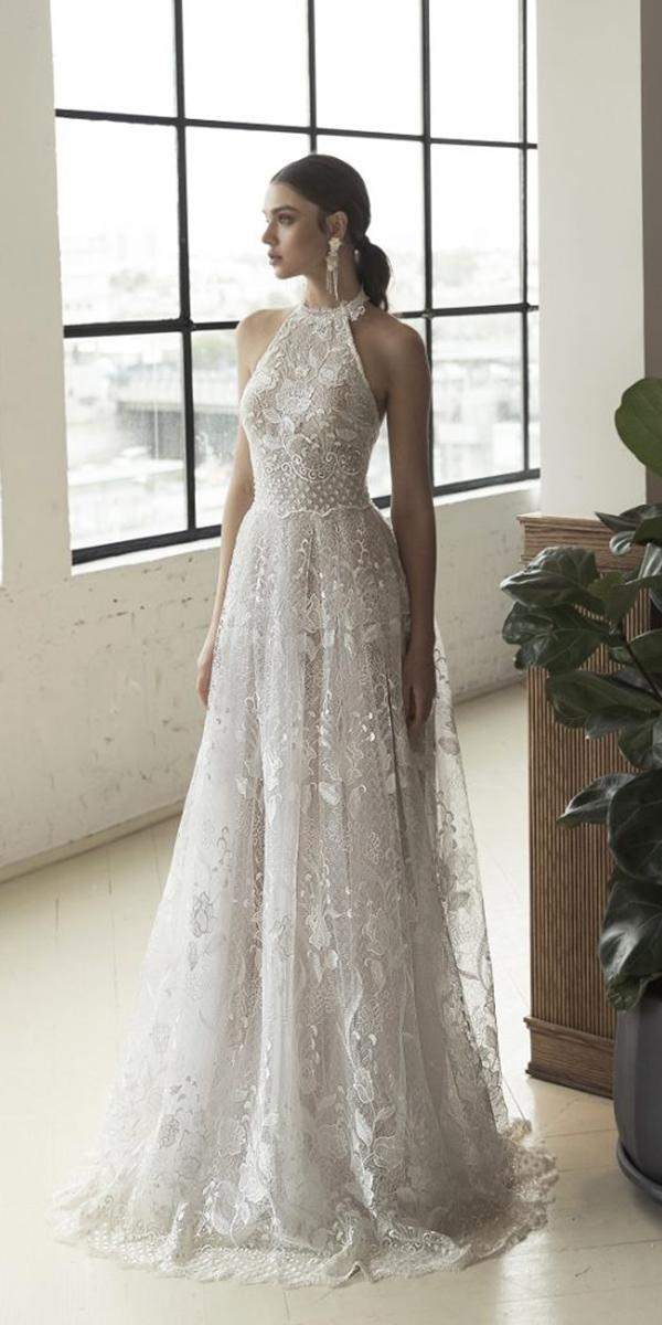 wedding dresses 2019 a line high neck lace beach julia vino