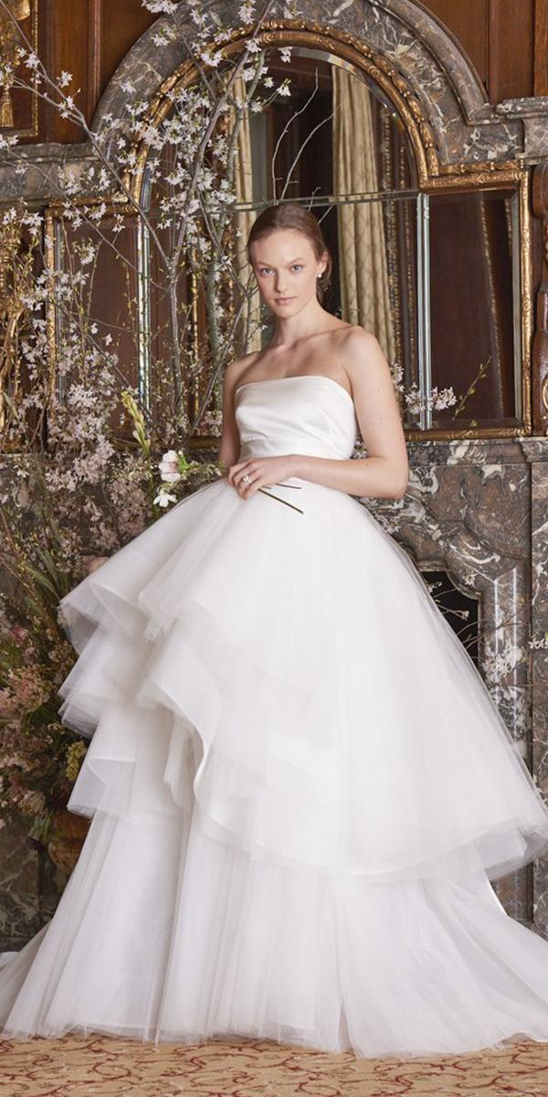 wedding dresses 2019 ball gown across neckline tiered skirt trrends monique lhuillier
