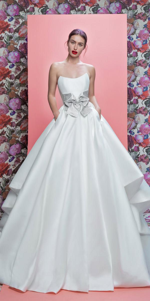 wedding dresses 2019 ball gown across neckline with bow simple galia lahav