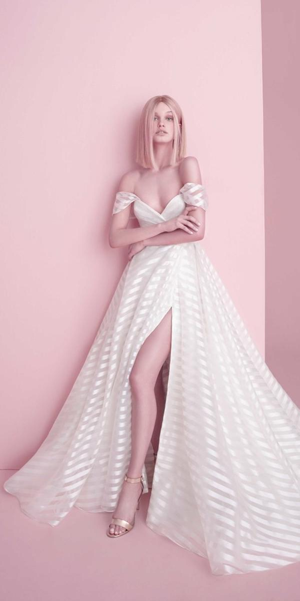 wedding dresses 2019 ball gown off the shoulder with slit hayley paige