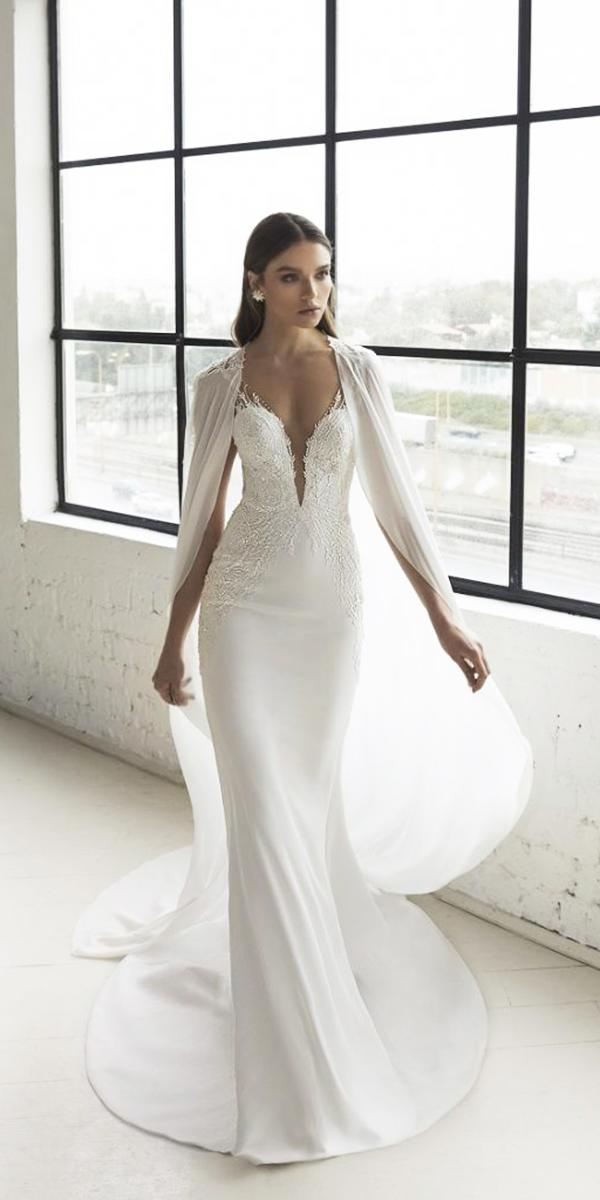 wedding dresses 2019 deep v neckline with capes julia vino