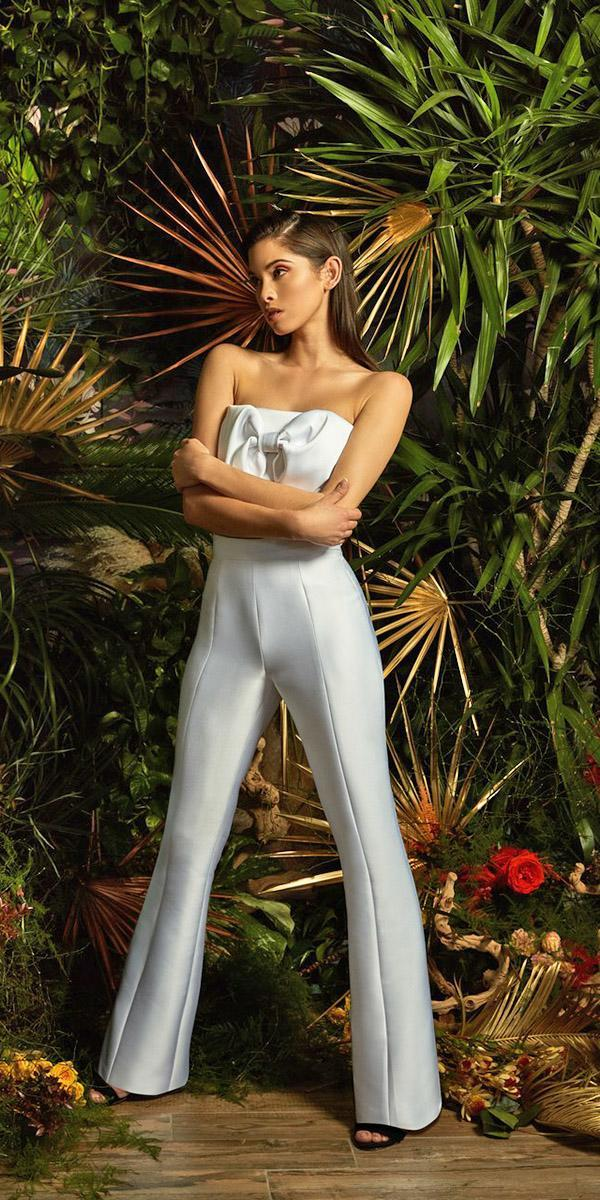wedding dresses 2019 jumpsuit with bow simple trendy lakum