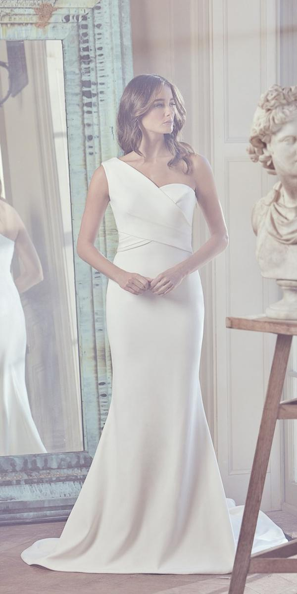wedding dresses 2019 mermaid asymmetric one shoulder simple sareh nouri