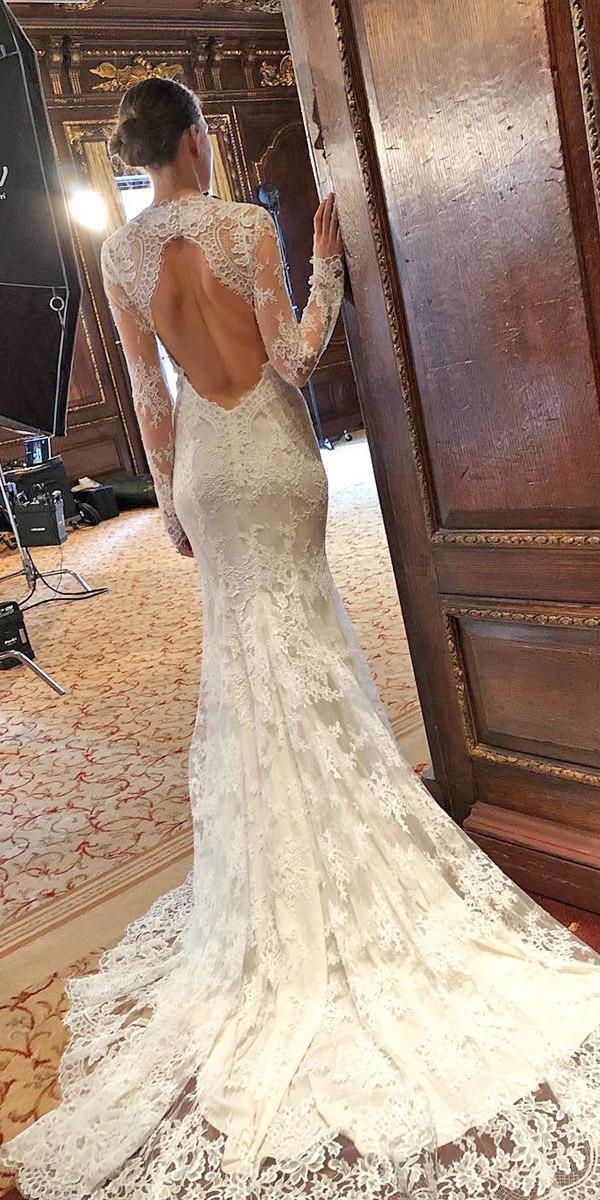 wedding dresses 2019 mermaid open back with long sleeves full lace monique lhuillier