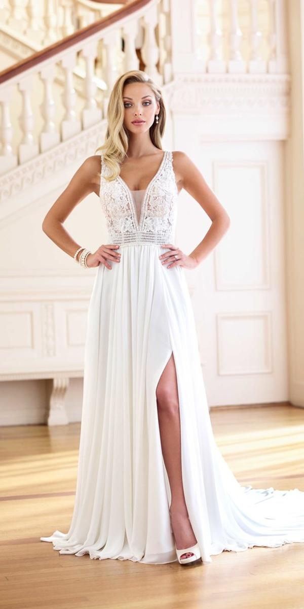 wedding dresses 2019 sheath deep v neckline with slit lace sexy mon cheri