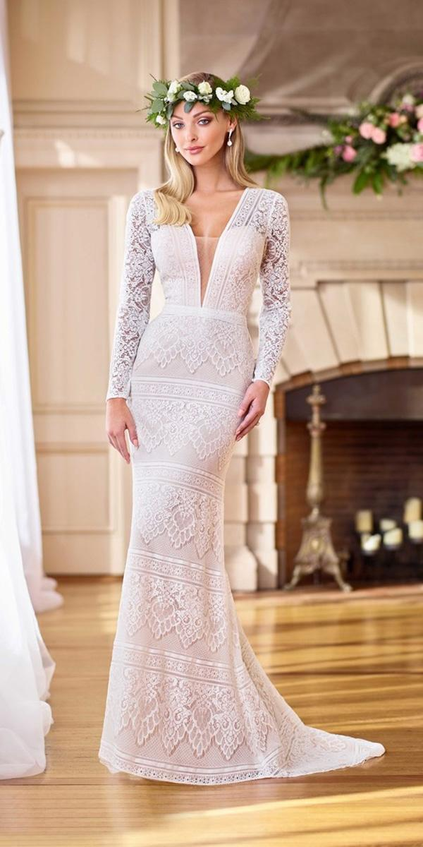 wedding dresses 2019 sheath with long sleeves plunging neckline lace boho mon cheri
