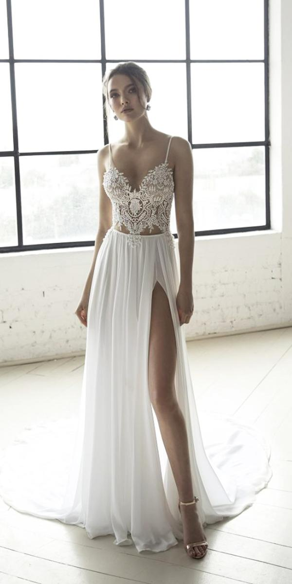wedding dresses 2019 sheath with spaghetti straps lace beach sexy top julia vino