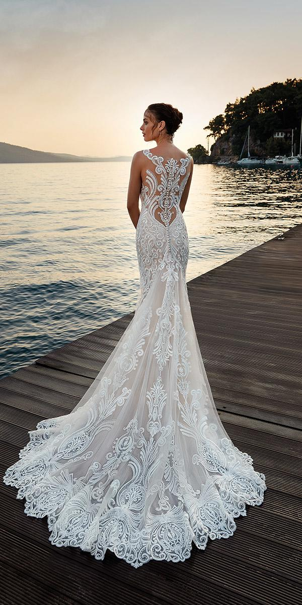 wedding dresses 2019 tattoo effect back lace sexy beach eddy k