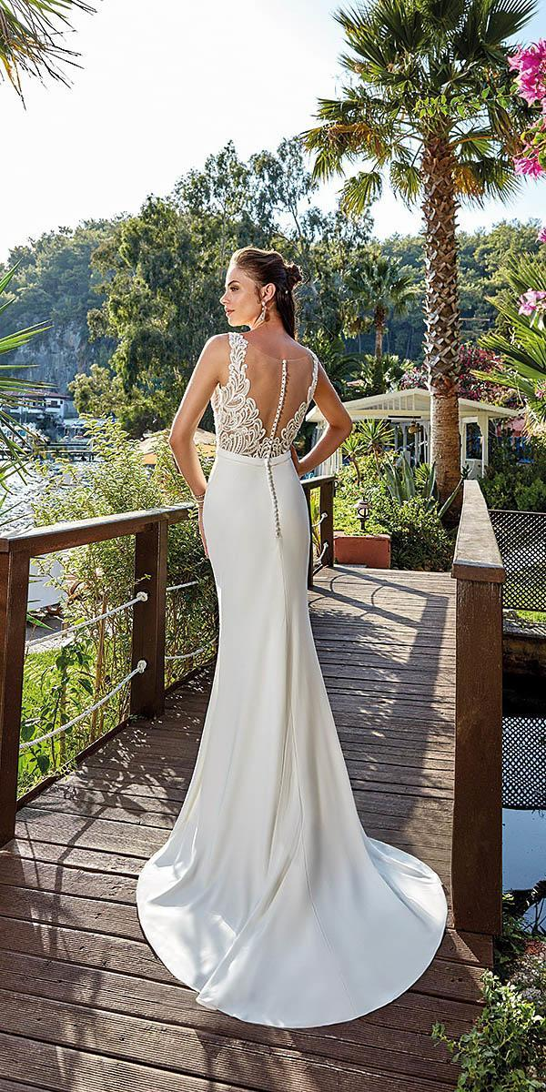 wedding dresses 2019 trumpet illusion lace back with buttons eddy k