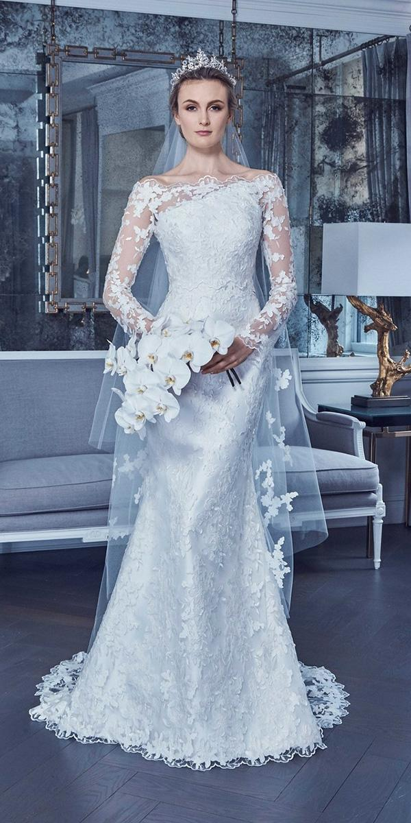 wedding dresses 2019 with long sleeves-asymmetric floral lace trendy romona keveza