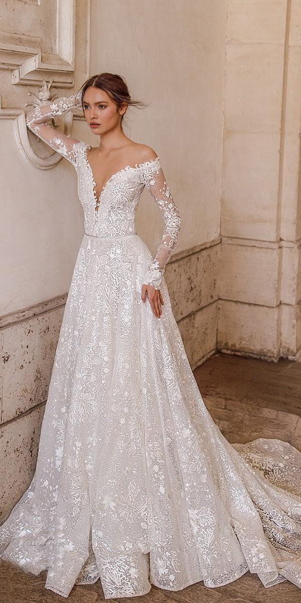 birenzweig wedding dresses a line with long sleeves off the shoulder floral 2018