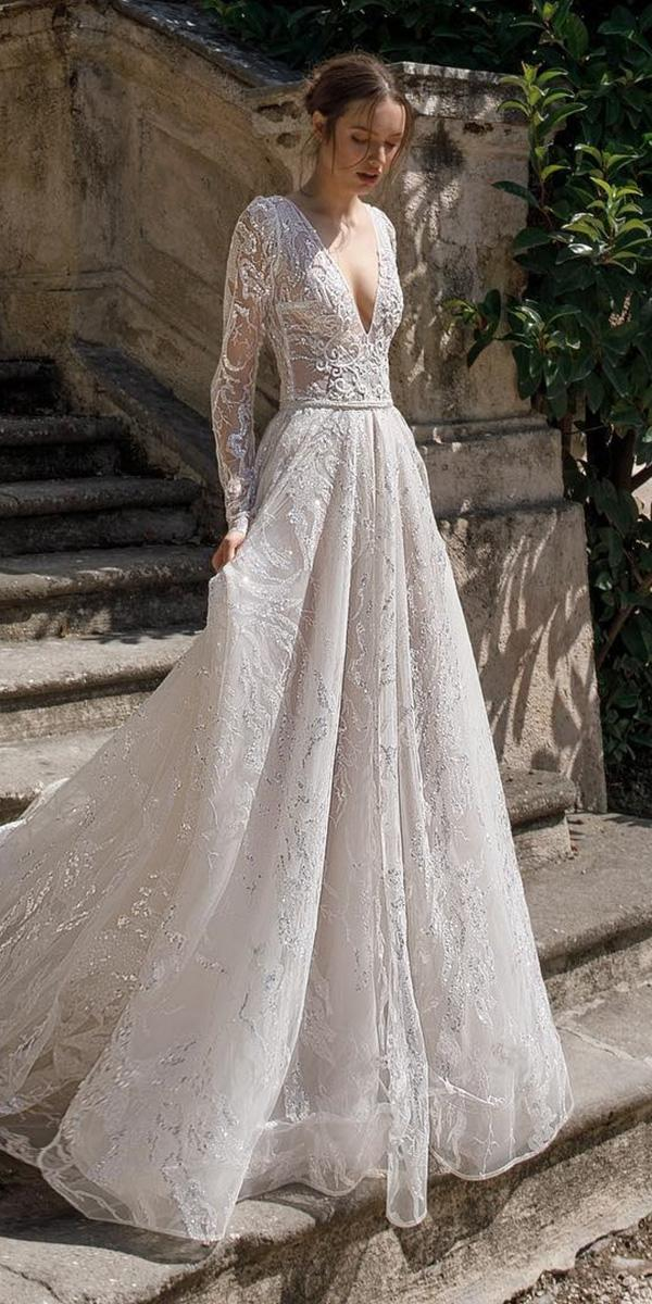 birenzweig wedding dresses a line v neckline with long sleeves 2018