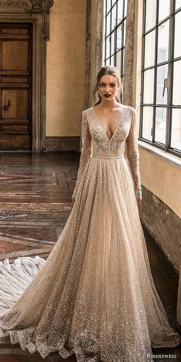 birenzweig wedding dresses a line with long sleeves v neckline sequins champagne
