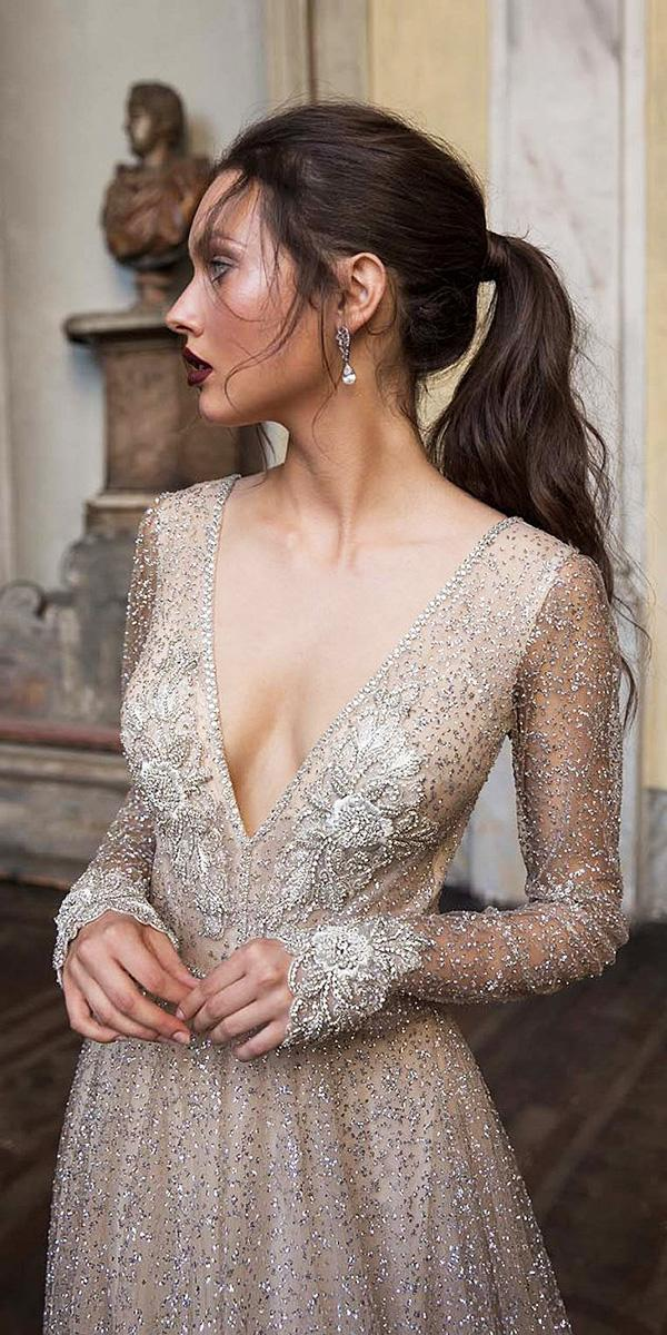 birenzweig wedding dresses deep v neckline with long sleeves beaded sequins nude detail