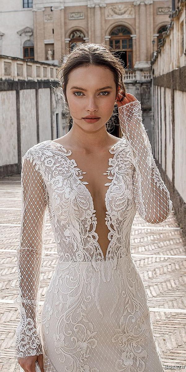 birenzweig wedding dresses deep v neckline with long sleeves sexy lace details