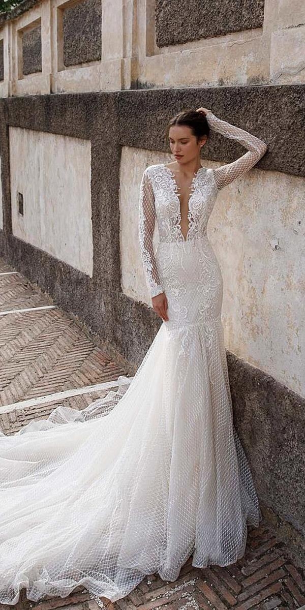 birenzweig wedding dresses mermaid with long sleeves deep v neckline lace 2018