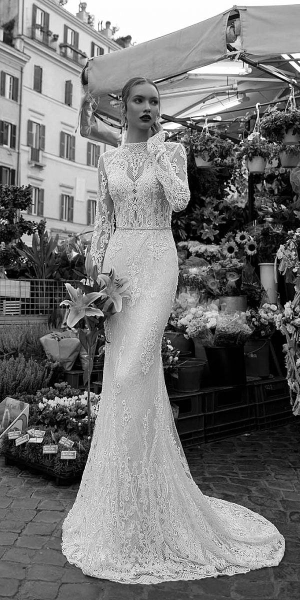 birenzweig wedding dresses trumpet with long sleeves lace sexy 2018