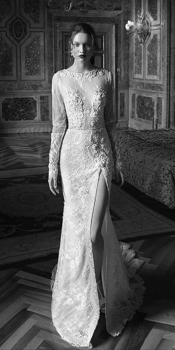 birenzweig wedding dresses with long sleeves floral lace embellishment slit 2018