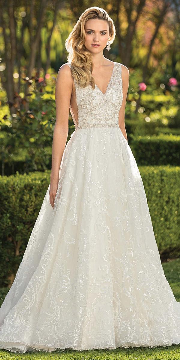 casablanca bridal wedding dresses a line deep v neckline beaded lace 2018