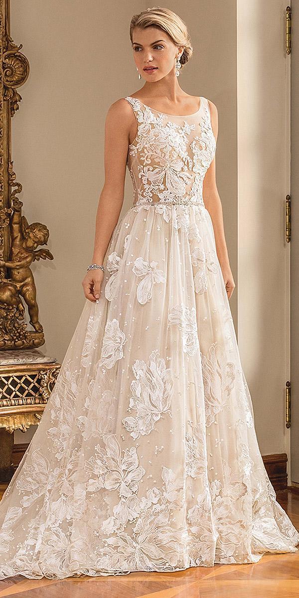 casablanca bridal wedding dresses a line flower embroidered ivory sleeveless