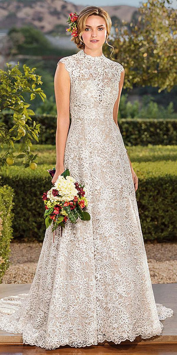 casablanca bridal wedding dresses a line high neck lace creates 2018