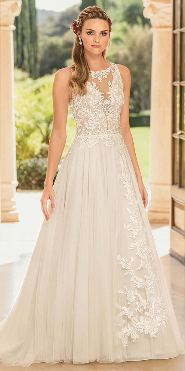casablanca bridal wedding dresses a line illusion neckline lace 2018