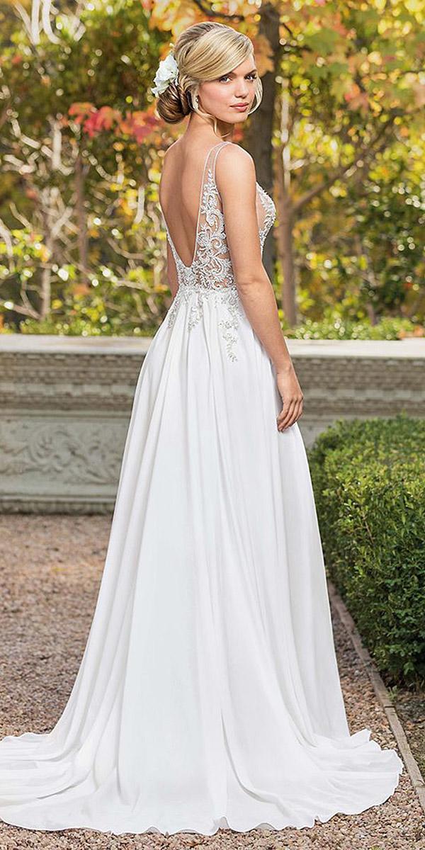 casablanca bridal wedding dresses a line low illusion back lace top 2018