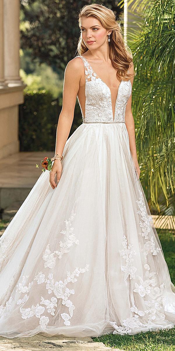casablanca bridal wedding dresses a line sexy deep v neckline floral lace embellishment