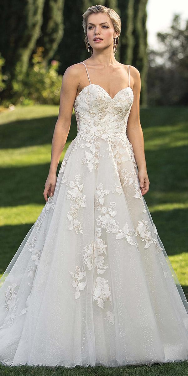 casablanca bridal wedding dresses a line with spaghetti straps floral appliques 2019