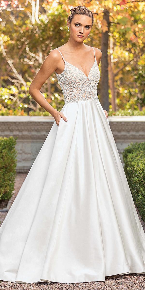 casablanca bridal wedding dresses a line with spaghetti straps lace top silk skirt