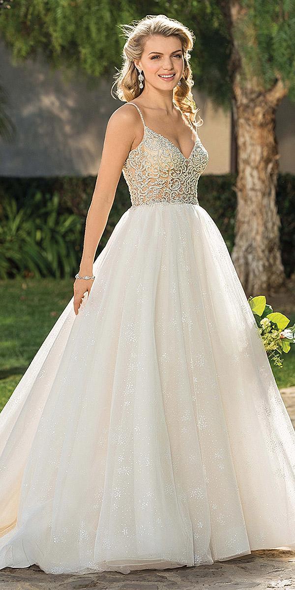 casablanca bridal wedding dresses a line with spaghetti strraps jeweled top