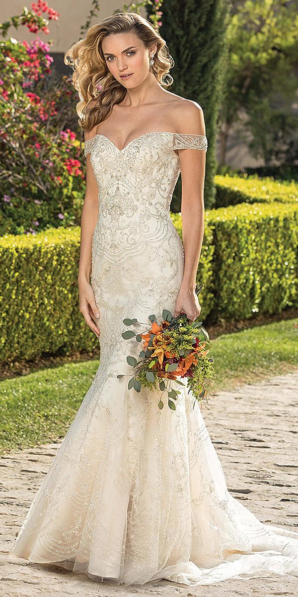casablanca bridal wedding dresses fit an flare off the shoulder sweetheart beaded satin