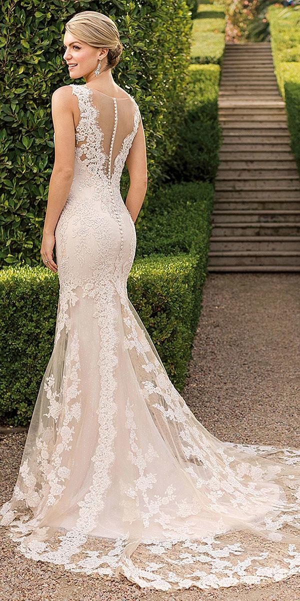 casablanca bridal wedding dresses fit and flare illusion back with buttons full lace
