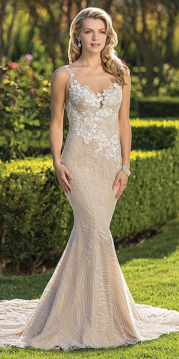 casablanca bridal wedding dresses fit and flare illusion neckline lace appliques