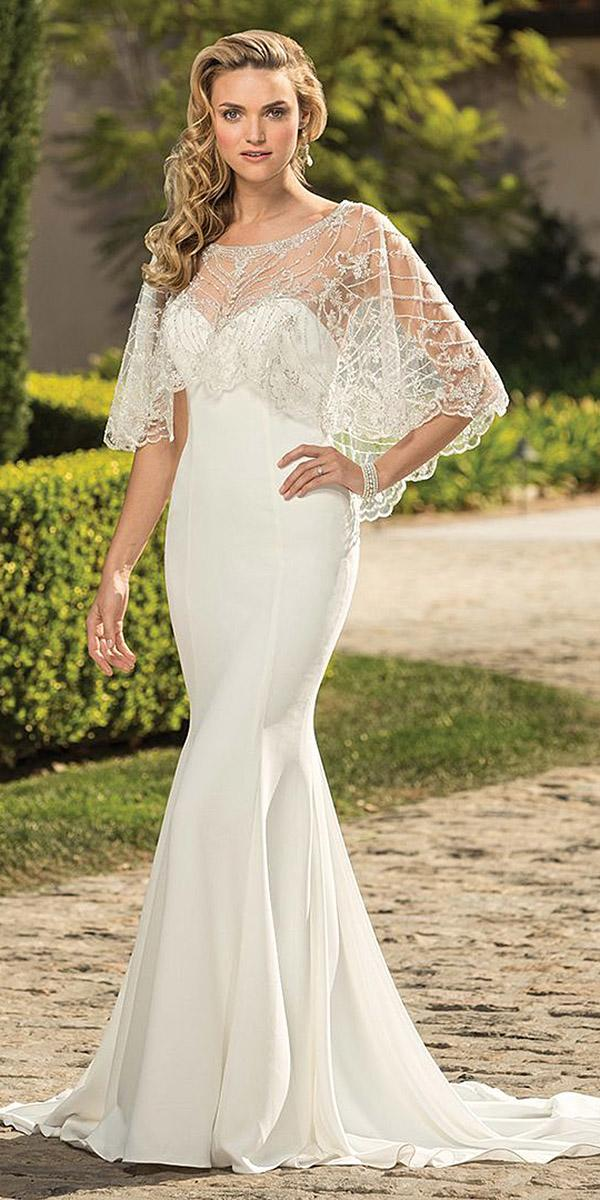 casablanca bridal wedding dresses fit and flare sweetheart with cape lace
