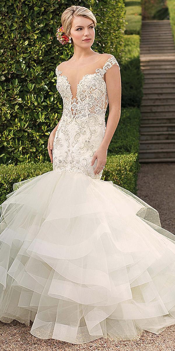 casablanca bridal wedding dresses mermaid illusion deep v neckline trendy
