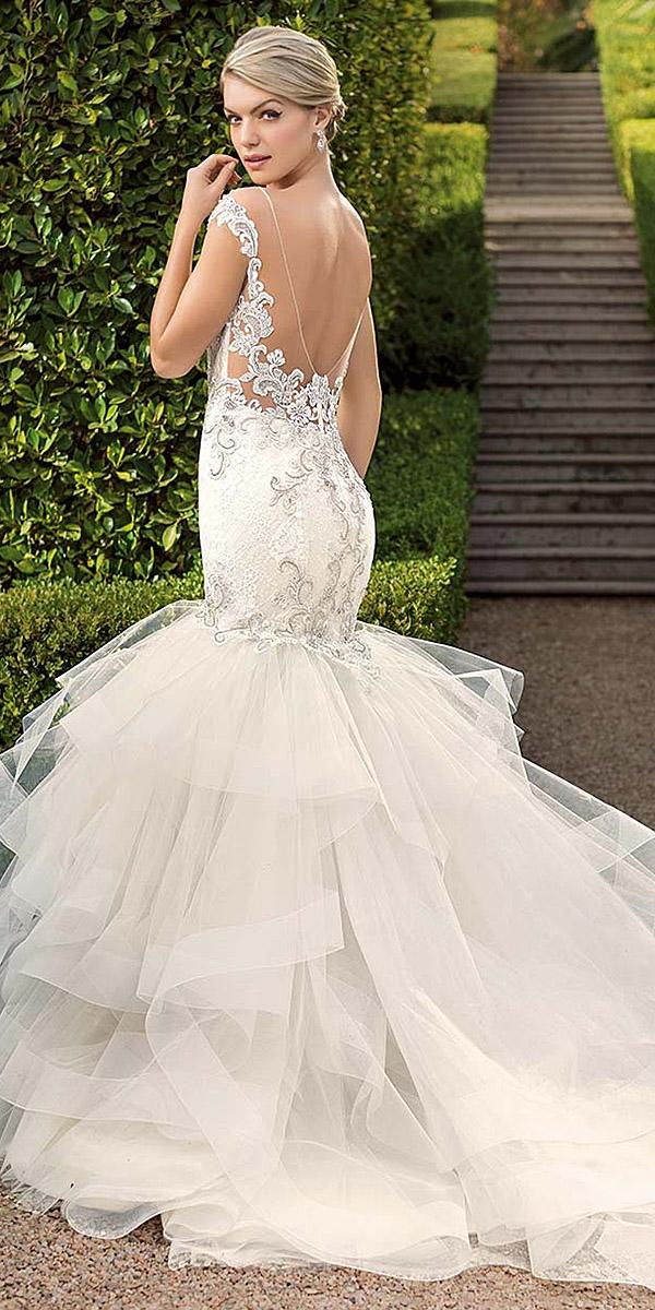 casablanca bridal wedding dresses mermaid low illusion back lace appliques