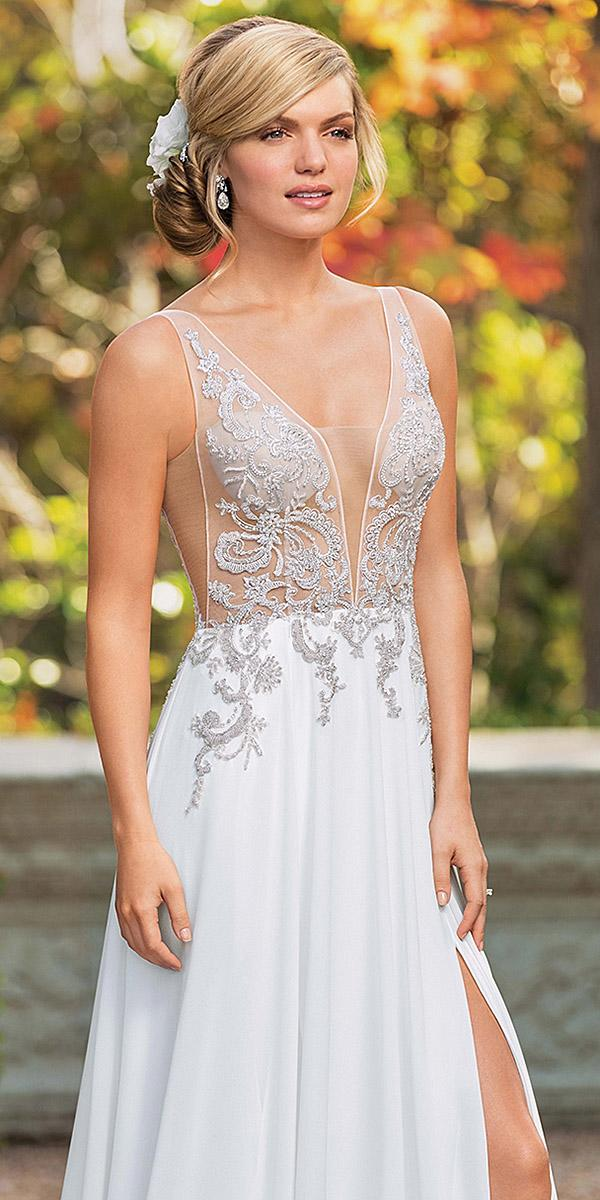 casablanca bridal wedding dresses sexy plunging neckline beaded 2018