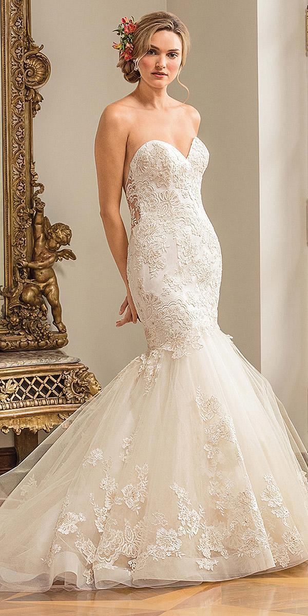 casablanca bridal wedding strapless sweetheart lace 2018 ivory